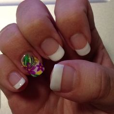 my new manicure...shellac french polish with a flower nail art design :D