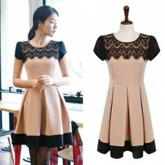 Elegant Lace Neck Patchwork Color Slim Pleated Dress for Women