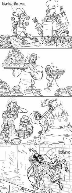 Baking with the overwatch heroes. Last one made me lol XL
