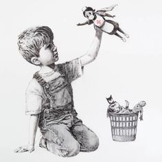 """""""'A new Banksy artwork has appeared at Southampton General Hospital in the UK. It shows a young boy kneeling by a wastepaper basket. He has discarded his Spiderman and Batman model figures in favour of a new favourite action hero - an NHS nurse. Banksy Graffiti, Street Art Banksy, Bansky, Banksy Paintings, Banksy Artwork, Banksy Posters, Southampton, Superman, Batman"""