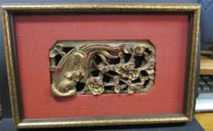 Antique Chinese panel framed wood plaque carving