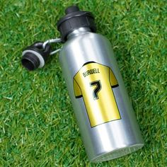 Personalised with your team's logo on the front, a shirt with your name and number on the back | Personalised Football Sports Water Bottles | GettingPersonal.co.uk