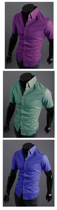 Summer is close, get your casual solid color short sleeve men's shirt. Comes in red, pink, purple, all shades of blue, brown, black and white colors AT €8.81.