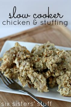 """Slow Cooker Chicken and Stuffing...made this tonight...doubled recipe...perfect after 4 hours on high...family called this one a """"do over"""". Served with a side of green beans...dinner done."""