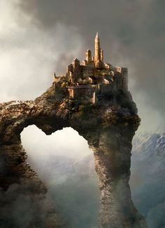 "fantasy-art-engine: "" Castle Above the Arch by Unknown "" Dark Fantasy, Fantasy City, Fantasy Castle, World Of Fantasy, Fantasy Places, Fantasy Setting, Fantasy Landscape, Medieval Fantasy, Sci Fi Fantasy"