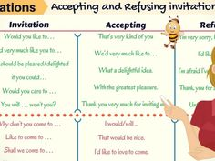 Responses to invitations english pinterest english and activities how to accept and refuse invitations in english stopboris Images