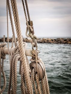 The ropes of the sailboat while sailing in the Gulf of Mexico off the coast of Destin, Florida.