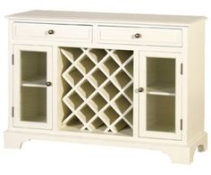 Cream Fayence Sideboard with Wine Rack