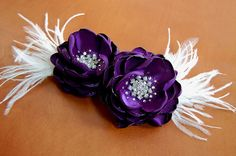 Purple Hair Flowers (without feathers)  by MikiyeCreations, $92.00