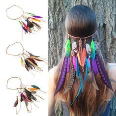 Hot Fashion Bohemian Festival Feather Headband Hippie Headdress Hair Accessories Boho Peacock Feather Headdress For Women