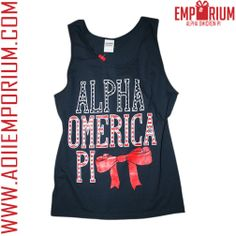 Alpha Omicron Pi Emporium!! Alpha Omerica Pi unisex navy red and white tank!! AOII!!