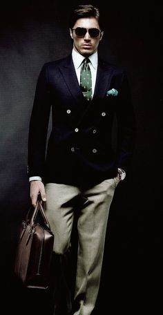 Very nice Navy blue double breasted sport coat ensemble #menswear