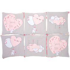 Tour de lit en coton gris/rose Bébé fille