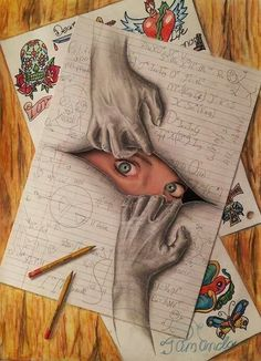 Top 20 super realistic drawings of Ramon Bruin, which give the impression of .Top 20 super realistic drawings of Ramon Bruin, which give the impression of . - Trompe-l'oeil, street art et illusions - 3d Drawings, Amazing Drawings, Realistic Drawings, Drawing Sketches, Pencil Drawings, Illusion Drawings, Amazing Artwork, Drawing Ideas, Interesting Drawings