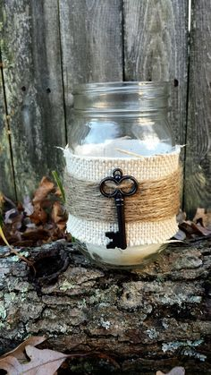 Rustic shabby chic mason jar burlap lace key by VintageCreekStudio