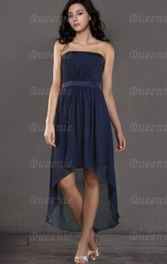 High Low Chiffon A-line Strapless Sleeveless Dark Navy Homecoming Dress|Queenie.com