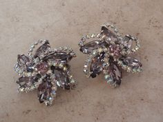 Weiss Lavender Earrings Prong Set Rhinestone AB Clip On Floral Swirl Starburst Vintage 051116BT by cutterstone on Etsy