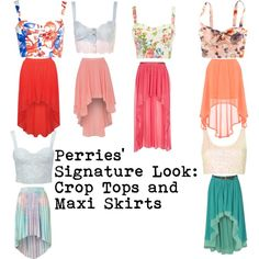 """""""Perries' Signature Look: Crop Tops and Maxi Skirts"""" by perriefashions on Polyvore"""