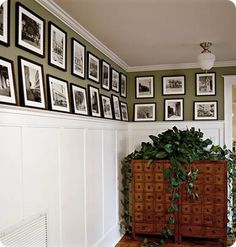 I like this for our downstairs den… Not that I would ever manage to hang that many pictures.  I have nail-phobia. Perhaps this would cure that!