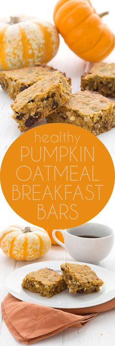 These low carb Pumpkin Chocolate Chip Breakfast Bars have an oatmeal texture that everyone loves! Keto grain-free recipe.  via @dreamaboutfood