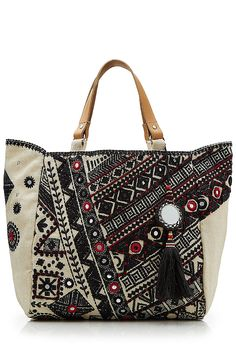 Dara Embroidered Jute Tote with Embellished Keychain detail 0