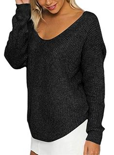 TBONTB Womens Loose Knitted Pullover Sweater Long Sleeve V Neck Small Black * See this great product. (This is an affiliate link)