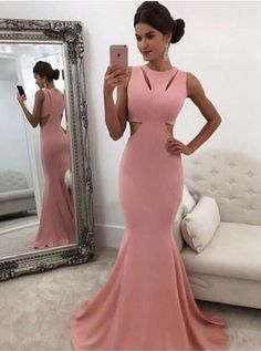 Pink Long Prom Dress Cut-Out Elegant Mermaid Round
