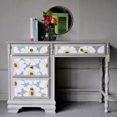 Give an old piece of furniture a new life- all you need is some paint: Child's desk or vanity