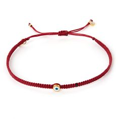 Tai Small Red Evil Eye Woven Bracelet ($69) ❤ liked on Polyvore featuring jewelry, bracelets, adjustable knot bracelet, bead bracelet, evil eye charm, evil eye charm bracelet and bracelet bead charms