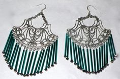 Chandelier Earrings Teal and Silver by SeagoddessEclectica on Etsy, $35.00