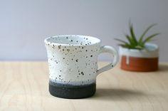 Rustic small handmade ceramic mug 18 oz black and by GolemDesigns