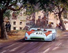 'Sicilian Sunshine' 1970 Targa Florio.Jo Siffert, driving the Gulf Porsche 908/3, speeds through Collesano to win the 1970 Targa Florio with co-driver Brian Redman.