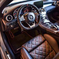 Mercedes-Benz C 63 AMG - That interior's gna produce a lot of gold diggers' ass mark! Mercedes Auto, Mercedes Benz Interior, Mercedes Benz Cars, Maserati, C 63 Amg, Mercedez Benz, Cabriolet, Top Cars, Chevy Trucks