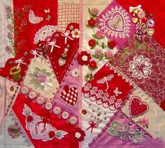 """I ❤ crazy quilting & ribbon embroidery . . . Created for the HGTV Valentine CQ Challenge,  Bjeannes  Winner - Experienced - """"Best Valentine"""""""