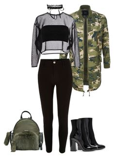 """Geen titel #153"" by eliantha-vonck on Polyvore featuring mode, Gianvito Rossi, LE3NO, Yves Saint Laurent, Fallon, Boohoo, Moncler en River Island"