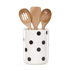 A stylish holder that keeps cooking tools within reach, the Deco Dot Utensil Crock from kate spade new york's All In Good Taste line of kitchenware is adorned in a classic polka dot pattern. Included with the stoneware crock are 3 wooden utensils. Kitchen Utensils List, Kitchen Utensil Set, Kitchen Gadgets, Kitchen Ideas, Kitchen Decor, Kitchen Stuff, Kitchen Dining, Eclectic Kitchen, Pantry Ideas
