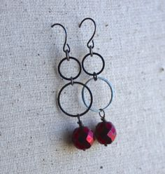 Double Looped  Red Faceted Bead Drop Earrings by ThatGirlsDesigns, $8.00