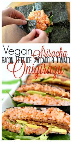 Vegan Sriracha Bacon, Lettuce, Avocado, and Tomato (BLAT) Onigirazu - A delicious vegan version of the popular Japanese dish! Vegan Lunches, Vegan Foods, Vegan Dishes, Vegan Vegetarian, Vegetarian Recipes, Healthy Recipes, Vegan Sushi, Veggie Recipes, Entree Recipes