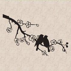 Dove Birds On A Branch B Vinyl Wall Art Decal Sticker