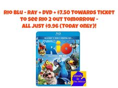 """TODAY only, snag Rio on Blu-ray + DVD + Digital HD with up to $7.50 in movie cash towards a ticket to see """"Rio 2″ – in theaters 4/11/2014- all for only $9.96 (Retail $24.99)! Shipping is FREE using the in-store pick up option!"""