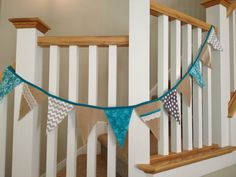 Offer is for one pennant banner made with burlap, fabric and lace. All items are sewn, not glued. Color combination is as pictured: Turquoise, Gray