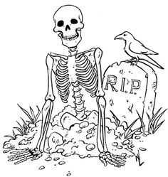 PERHAPS BEST SUITED TO OLDER CHILDREN AND TEENS. SKELETON, CROW, GRAVEYARD AND RIP TOMBSTONE  COLORING PAGE.