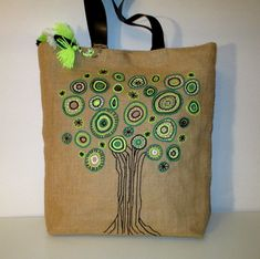 Green tree hand embroidered jute tote elegant bag with leather straps large handmade tote bag one of a kindsumme beach bags boho style Burlap Tote, Jute Tote Bags, Tote Bags Handmade, Cotton Decor, Hand Applique, Vintage Embroidery, Fabric Painting, Craft, Beach Bags