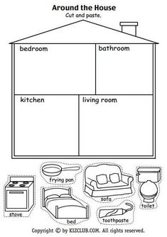 Resultado de imagen para parts of the house worksheets for kids pdf Around the House Cut And Paste Kindergarten - Grade Lesson Plan Reading recap of household objects and rooms How to Make Popsicle Stick Snowflake Ornaments - these are so cute and easy to Preschool Learning, Kindergarten Worksheets, Preschool Activities, Teaching Kids, Vocabulary Activities, Clock Worksheets, Cut And Paste Worksheets, Cutting Activities, Coloring Worksheets