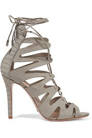 SchutzNadia lace-up snake-effect leather sandals