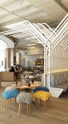△☆idb Restaurant Zizzi | Leeds, UK interesting stools ideas, room/space dividers