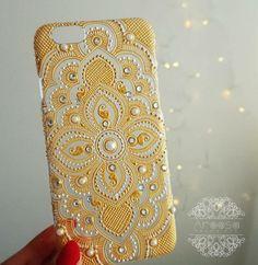 Items similar to Henna patterned phone case on Etsy Art Phone Cases, Diy Phone Case, Phone Cover, Henna Phone Case, Henna Candles, Mehndi Decor, Mandala Canvas, Mug Art, Dot Art Painting