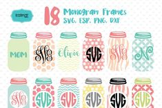 Ad: Mason jar monogram frames svg bundle by Kalindiprints. Mason jar, mason jar svg, mason jar design, mason jar decal. Use with your Cricut machine for Scrapbook, Cardmaking, Handmade Stationery, Invitations, Place Cards, Tags, Wrapping Paper, Books and Journals Hardcovers, Jewelry, Cards, Decoupage, Decorated Furniture, Packaging, Crafts for Weddings, Birthdays, Parties and any DIY Project. #svg #svgbundle #svgbundletemplates #monogram #masonjar #cricut Diy Projects To Sell, Crafts To Make And Sell, Diy Projects For Teens, Art Projects, Jar Design, Mason Jar Projects, Monogram Frame, Cricut Tutorials, Homemade Crafts