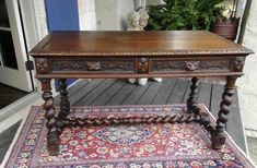 Antique French Carved Oak Barley Twist DESK Hall Entry Sofa Table Library 1880's #Renaissance #Craftsmenoftheera
