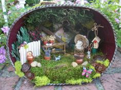 Miniature Garden Diorama Scene Lighted Handmade OOAK